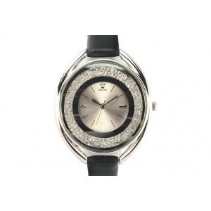 Montre Femme Fin bracelet cuir noir Star
