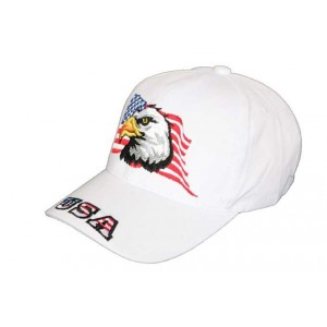 Casquette moto drapeau USA Blanche