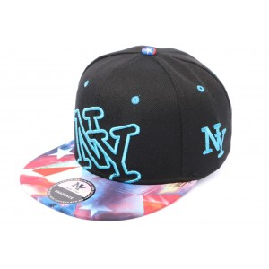 Snapback NY Noire Bleu violet rouge