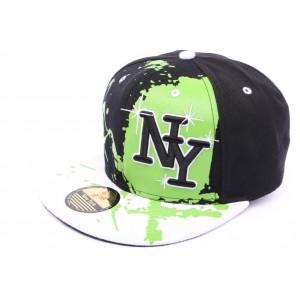 Snapback Ny Noir vert et blanc