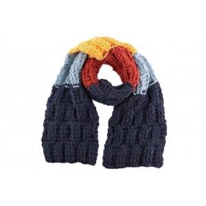 Echarpe en laine Snow Bleu Jaune Orange