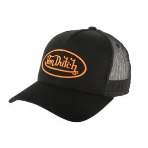 Casquette Trucker Von Dutch Noir et Orange Matt