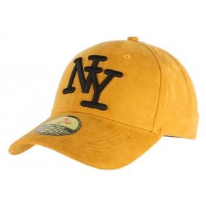 Casquette Baseball Daim Jaune Noire NY
