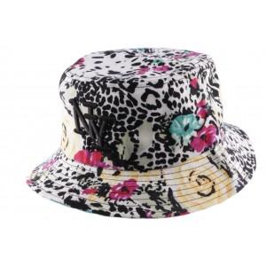 Chapeau Bob blanc et noir Léopard