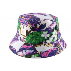 Chapeau Bob Blanc et violet Florale