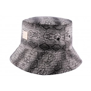 Chapeau bob noir et blanc imitation serpent