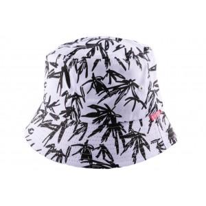 Chapeau Bob blanc et noir avec feuillage