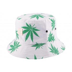 Chapeau Bob Blanc avec feuilles vertes