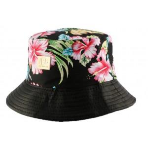 Chapeau Bob Noir avec revers cuir Florale
