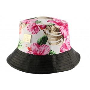 Chapeau Bob Ecru et Noir Florale