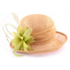 Chapeau mariage beige et anis Luce