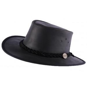 Chapeau Cuir Noir Brady Oil par Barmah Hats