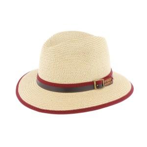 Chapeau paille beige et bordeaux Hodge Herman Headwear
