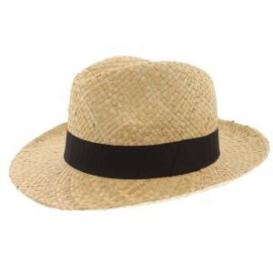 Chapeau paille naturel et noir Clapton Herman Headwear