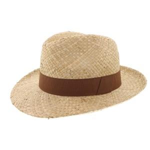 Chapeau paille Herman Headwear naturel et marron