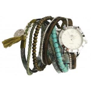 Montre femme bracelet double tour Turquoise et vert