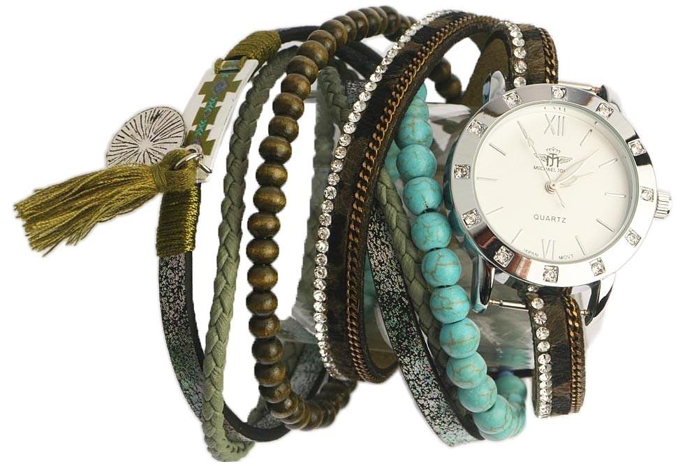 168680cad22 Montre bracelet double tour Verte et Turquoise Tella - OBOCLIC