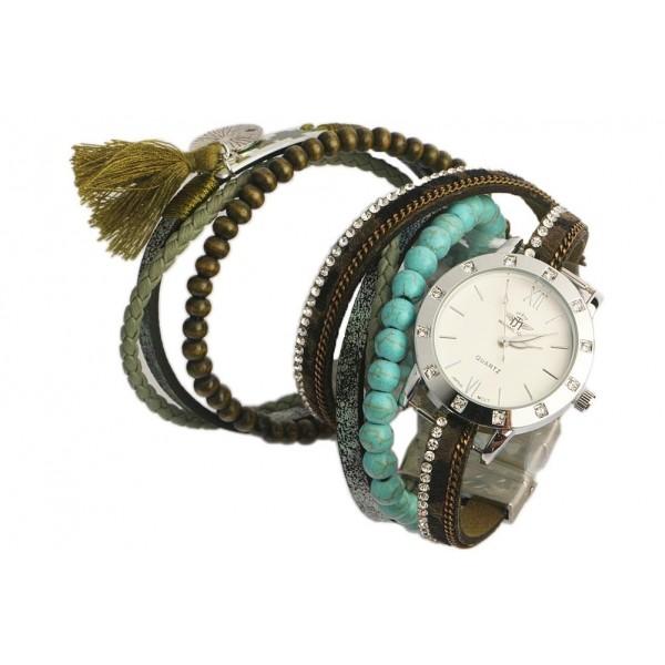 montre bracelet double tour verte et turquoise tella oboclic. Black Bedroom Furniture Sets. Home Design Ideas
