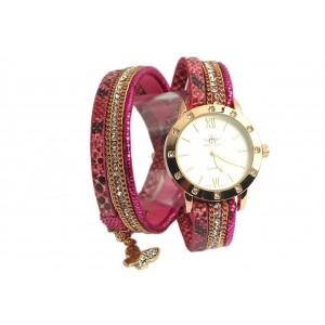 Montre femme double bracelet Fuchsia