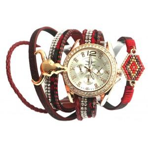 Montre femme bracelet double Rouge
