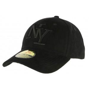 Casquette Baseball NY Noir façon daim