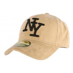 Casquette Baseball NY Beige façon daim