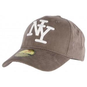 Casquette Baseball NY Gris Foncé façon daim