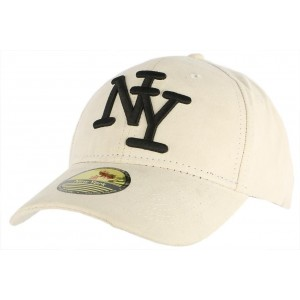Casquette Baseball Daim Blanche NY