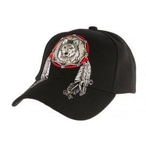Casquette Biker Noire avec loup indien