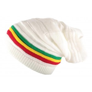 Bonnet Rasta Tube Blanc Jaïca
