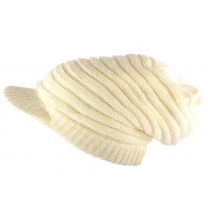 Bonnet casquette Long Blanc cassé