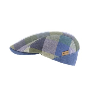 Casquette Plate Bleu type Patchwork par herman headwear