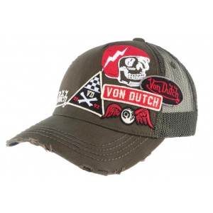 Casquette Von Dutch Kaki Custom Rouge Murph