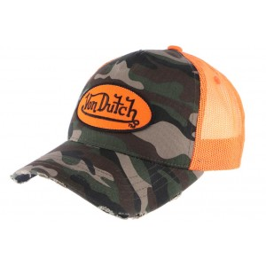 Casquette filet Von Dutch militaire Camouflage Orange