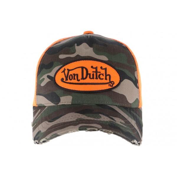 336ddb4ab4a1a Casquette filet Von Dutch militaire Camouflage Orange - OBOCLIC